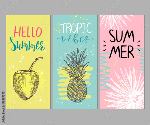 Set of abstract summer cards - 198587375