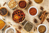 Set of various spices on light concrete background. Copy space. - 198590766