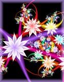 Digital fractal 3D design.Multicolor fractal flower on black background.