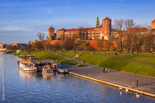 Aluminium Krakau The Royal Wawel Castle in Krakow at Vistula river, Poland