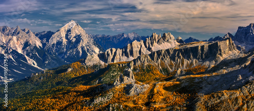 Passo Falzarego, Dolomites, Italy - view from the top of the Rifugio Lagazuoi - 198597544