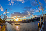London Eye and historic buildings from the Golden Jubilee bridges - 198598921