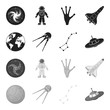 Planet Earth with continents and oceans, flying satellite, Ursa Major, UFO. Space set collection icons in black,monochrome style vector symbol stock illustration web.