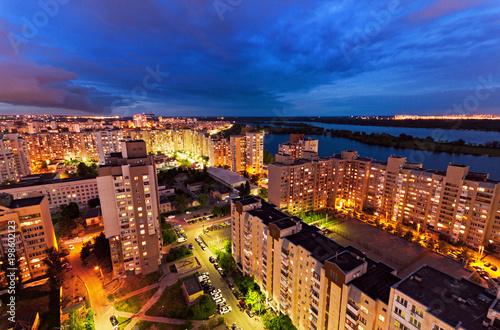 Foto op Plexiglas Kiev Housing estate at night. Obolon district. Kiev, Ukraine. Kyiv, Ukraine