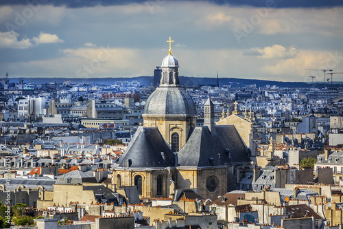 Foto op Plexiglas Parijs Aerial view of Paris, Church of Saint-Paul-Saint-Louis (1641) on the background. Paris, Marais, 4th arrondissement, France.