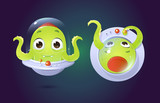 vector cartoon style alien character in top view and front view