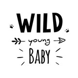 vector black and white wild young baby illustration print