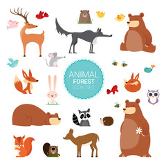 Creative Cute Wild Forest Animals vector illustrations © pingebat