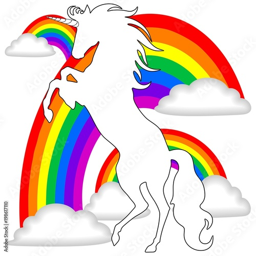 Foto op Plexiglas Draw White Unicorn on Rainbows Background