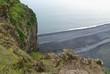 canvas print picture - Küste mit schwarzem Lavastrand auf Island