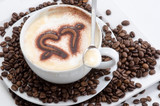 Good Morning: Close up white coffee cup on wood tab / Cup of latte art coffee with coffee beans :) - 198619113