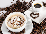 Good Morning: Cup of latte art coffee with coffee beans :) - 198620399