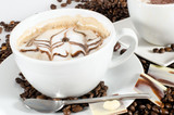 Good Morning: Cup of latte art coffee with coffee beans :) - 198620543