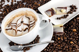 Good Morning: Cup of latte art coffee with coffee beans :) - 198620757