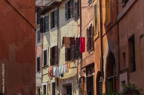 Poster Smal steegje Buildings Architecture in Rome Italy blue sky summer