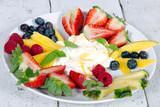 Guten Morgen, gesunder Start in den Tag: Biologischer, Vegetarischer Genuss zum Frühstück: Obst, Milch, Müsli und Joghurt :) - 198625112