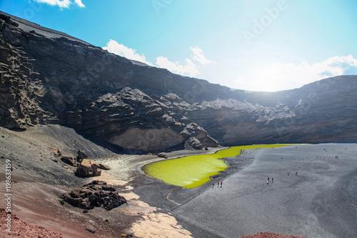 Fotobehang Canarische Eilanden Aerial view of Volcanic Lake El Golfo, Lanzarote, Canary Islands, Spain.