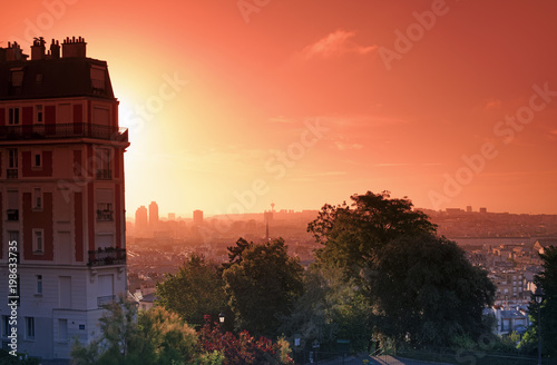 Foto op Plexiglas Parijs Butte Montmartre sunrise in Paris