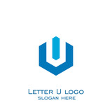 hexagon letter U logo, vector icons.