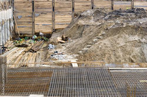 Foto op Canvas Oude verlaten gebouwen construction site of a building - excavation hole