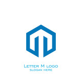 hexagon letter m logo, vector icons.
