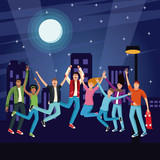 Young people jumping at city night vector illustration graphic design - 198644593
