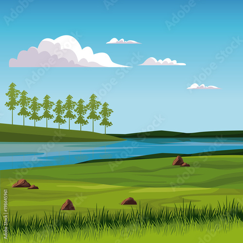 Foto op Aluminium Blauw Beautiful nature landscape with lake vector illustration graphic design