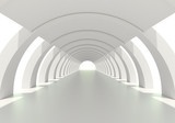 Bright white circular corridor or tunnel
