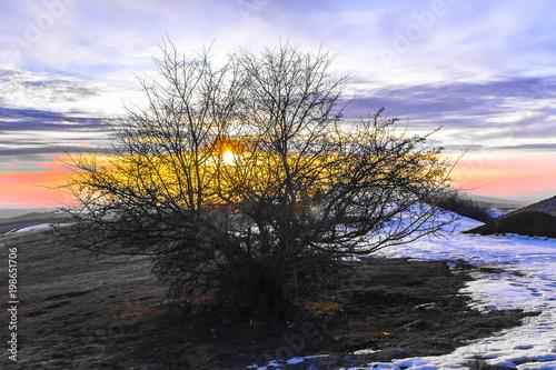 In de dag Ochtendgloren Beautiful sunset in the valley