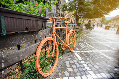 Foto op Plexiglas Fiets Retro old vintage orange bike