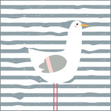 Funny seagull childish print. Vector hand drawn illustration. - 198654750