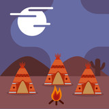 native american teepees bonfire at night image vector illustration - 198655942
