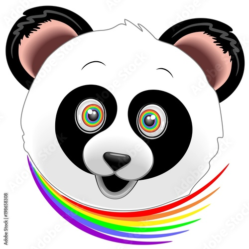 Foto op Plexiglas Draw Panda Happy Face Rainbow Eyes
