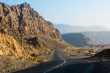 Road through dessert mountain Jabal Jais in UAE