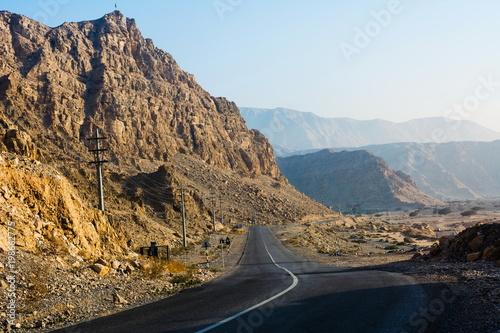 Road through dessert mountain Jabal Jais in UAE - 198662775