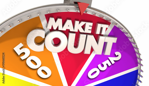 Make It Count Spinning Game Show Wheel Winner 3d Illustration