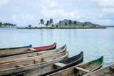 wooden boats,  canoe boat - Guna Yala, San Blas Islands - - 198675739