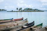 wooden boats,  canoe boat - Guna Yala, San Blas Islands - - 198675739