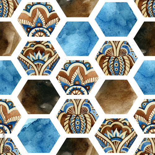 Watercolor hexagon with water color paper textures and paisley ornament. - 198677170