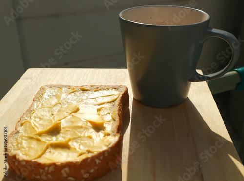 Fotobehang Chocolade bread with magarine topping and hot drink