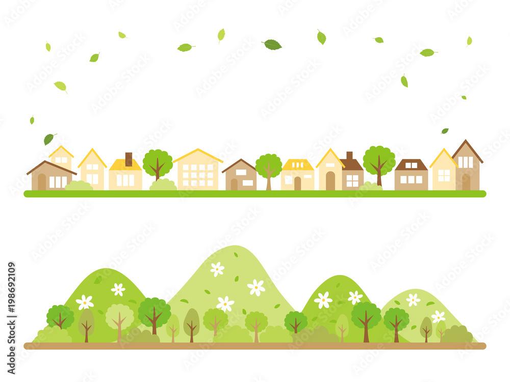 新緑の季節の風景 バナー素材セット
