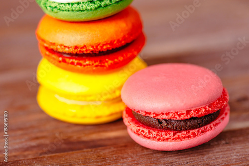 Fotobehang Macarons Closeup of colorful macaron dessert.