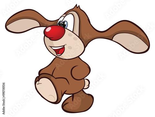 Fotobehang Babykamer Illustration of Cute Rabbit. Cartoon Character
