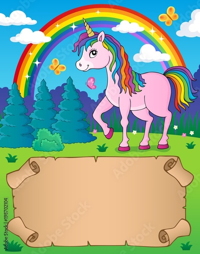 Poster Voor kinderen Small parchment and happy unicorn