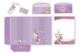 Set of corporate identity templates, business style decorated with orchid flowers.