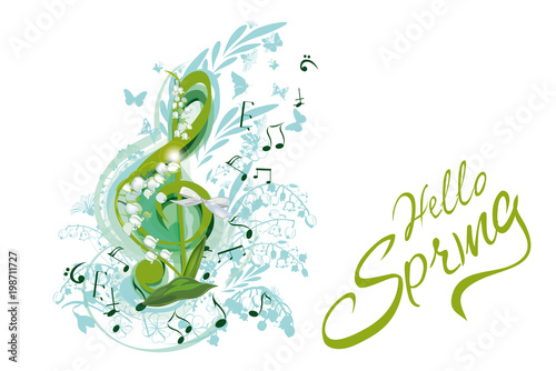 Abstract treble clef decorated with summer and spring flowers, notes. Hand drawn vector illustration. - 198711727