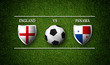 Football Match schedule, England vs Panama, flags of countries and soccer ball - 3D rendering