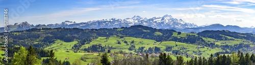 Poster Panoramafoto s Appenzeller Land mit Alpstein-Massiv