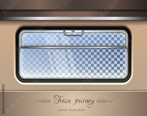 Fototapeta Train window. Window of the train on a transparent background with the ability to change the landscape outside the window. Vector illustration