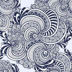 Abstract Zen tangle Zen doodle marine seamless pattern from shells black on white for coloring page or adult coloring books or for decoration T shirt or for print and others